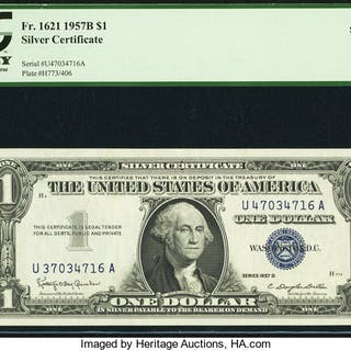 Fr. 1621 $1 1957B Silver Certificate. PCGS Superb Gem New 68PPQ. ...