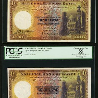 Egypt National Bank of Egypt 10 Pounds 13.101939; 7.4.1945; 20.4.1945;