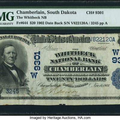 Chamberlain, SD - $20 1902 Date Back Fr. 644 The Whitbeck NB Ch. #