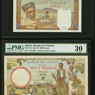 Banque de l'Algerie 100 Francs 5.3.1942 Pick 85 PMG About Uncirculated