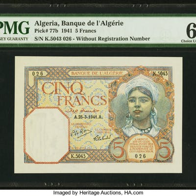 A Trio of Scarce Colonial Issues From The Banque de L'Algeria. ...