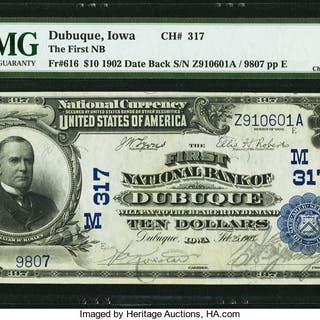Dubuque, IA - $10 1902 Date Back Fr. 616 The First NB Ch. # (M)317