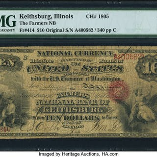 Keithsburg, IL - $10 Original Fr. 414 The Farmers NB Ch. # 1805 PMG