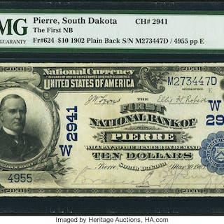 Pierre, SD - $10 1902 Plain Back Fr. 624 The First NB Ch. # (W)2941