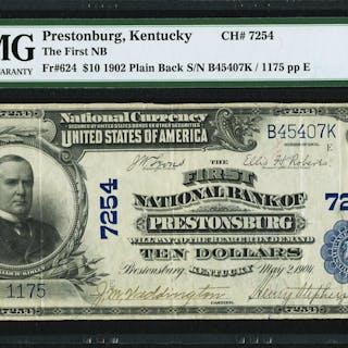 Prestonburg, KY - $10 1902 Plain Back Fr. 624 The First NB Ch. # 7254