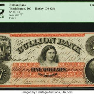 Washington, DC- Bullion Bank $5 Oct. 30, 1861 G8a PCGS Very Choice New 64. ...