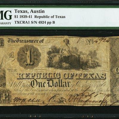 Austin, TX- Republic of Texas $1 July 1, 1841 Cr. A1 Medlar 21 PMG