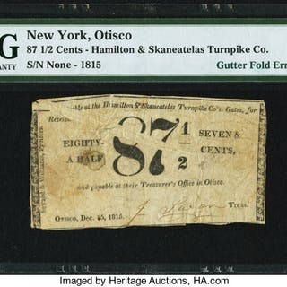 Otisco, NY- Hamilton & Skaneatelas Turnpike Co. Gutter Fold Error