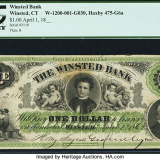 Winsted, CT- Winsted Bank $1 Apr. 1, 1862 G6a PCGS Very Fine 30. ...