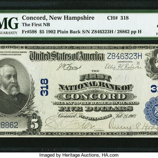 Concord, NH - $5 1902 Plain Back Fr. 598 The First NB Ch. # 318 PMG