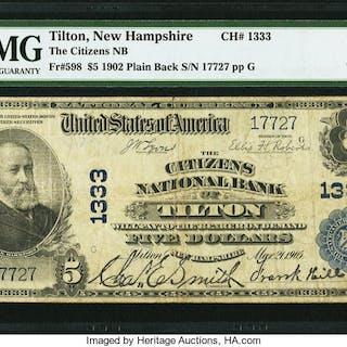 Tilton, NH - $5 1902 Plain Back Fr. 598 The Citizens NB Ch. # 1333
