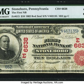 Stoneboro, PA - $10 1902 Red Seal Fr. 613 The First NB Ch. # (E)6638