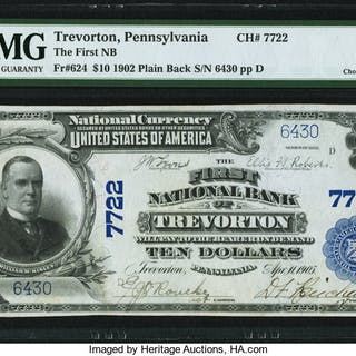 Trevorton, PA - $10 1902 Plain Back Fr. 624 The First NB Ch. # 7722