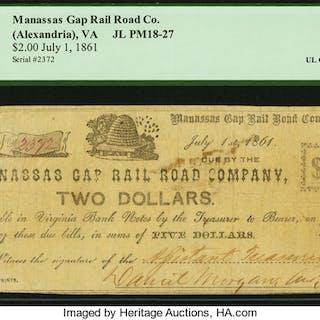 (Alexandria), VA- Manassas Gap Rail Road Co. $2 July 1, 1861 JL PM18-27