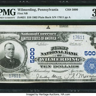 Wilmerding, PA - $10 1902 Plain Back Fr. 631 First NB Ch. # 5000 PMG