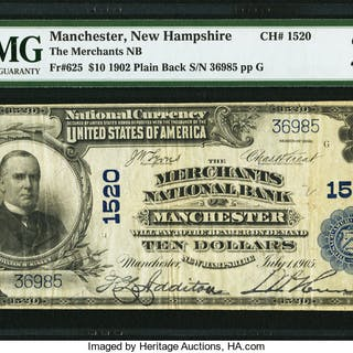 Manchester, NH - $10 1902 Plain Back Fr. 625 The Merchants NB Ch.