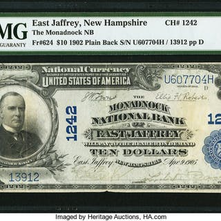 East Jaffrey, NH - $10 1902 Plain Back Fr. 624 The Monadnock NB Ch.