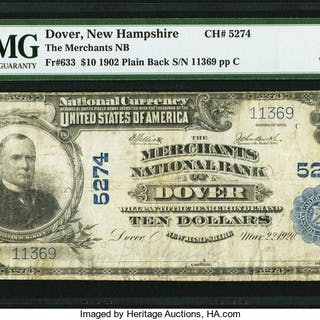 Dover, NH - $10 1902 Plain Back Fr. 633 The Merchants NB Ch. # 5274
