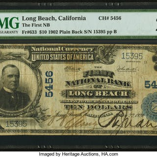 Long Beach, CA - $10 1902 Plain Back Fr. 633 The First NB Ch. # 5456