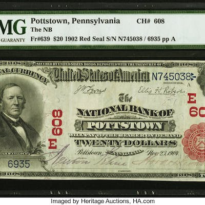 Pottstown, PA - $20 1902 Red Seal Fr. 639 The NB of Pottstown Ch.