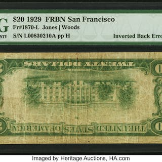 Fr. 1870-L $20 1929 Federal Reserve Bank Note. PMG Choice Fine 15. ...