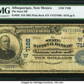 Albuquerque, NM - $10 1902 Plain Back Fr. 628 The State NB Ch. # (W)7186