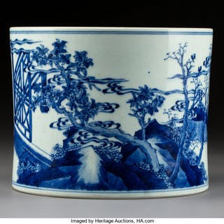 A Chinese Blue and White Porcelain Brush Pot,  Qing Dynasty, Kangxi