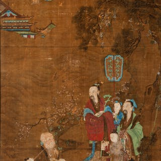 Chinese School (18th Century) Fu, Lu and Shou, Qing Dynasty, Qianlong