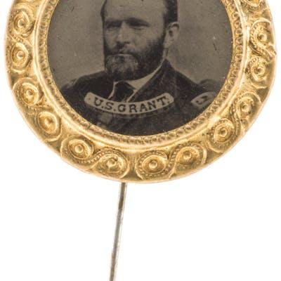 Ulysses S. Grant: Large Ferrotype Stickpin. ...