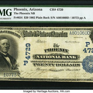 Phoenix, AZ - $20 1902 Plain Back Fr. 654 The Phoenix NB Ch. # (P)4729