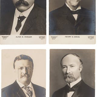 Theodore Roosevelt and Alton B. Parker: Set of Real Photo Postcards. ...