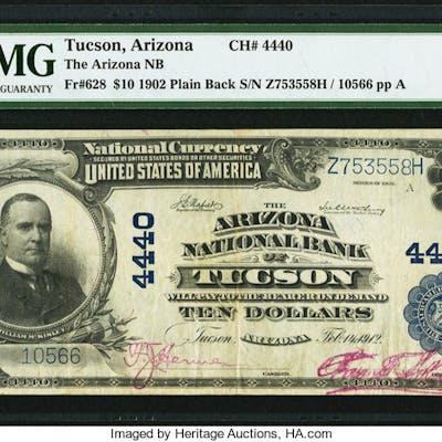 Tucson, AZ - $10 1902 Plain Back Fr. 628 The Arizona NB Ch. # 4440