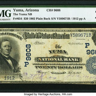 Yuma, AZ - $20 1902 Plain Back Fr. 654 The Yuma NB Ch. # (P)9608 PMG