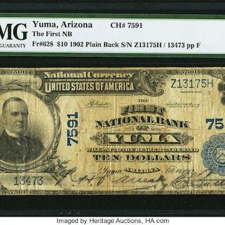 Yuma, AZ - $10 1902 Plain Back Fr. 628 The First NB Ch. # 7591 PMG