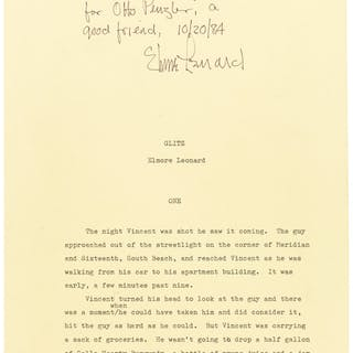 Elmore Leonard. Glitz Typescript, with Holograph Corrections. [New