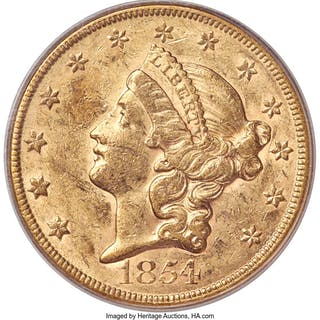 1854 $20 Large Date