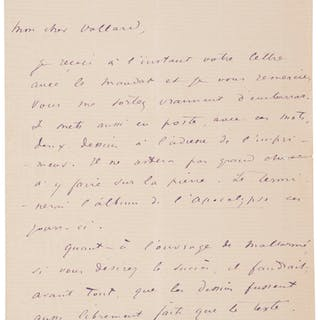 """Odilon Redon. Autograph Letter Signed.  """"Odilon Redon.""""..."""