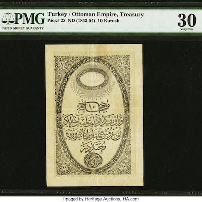 Turkey Ottoman Empire 10 Kurush 1853-54 Pick 23 PMG Very Fine 30. ...