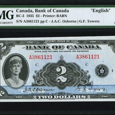 "Canada Bank of Canada $2 1935 BC-3 ""English"" PMG Choice Extremely"