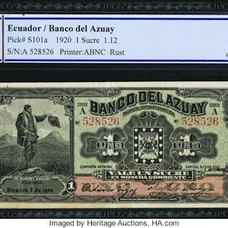 Ecuador Banco del Azuay 1 Sucre 1.12.1920 Pick S101a PCGS Gold Shield
