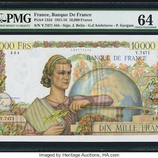 France Banque de France 10000 Francs 4.11.1954 Pick 132d PMG Choice