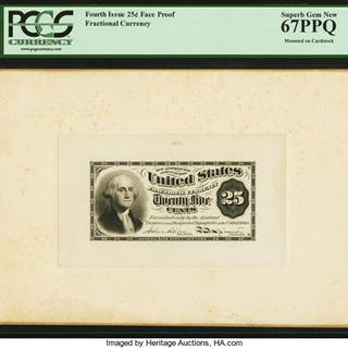 25¢ Fourth Issue Face Essay Plate Proof PCGS Superb Gem New 67PPQ. ...
