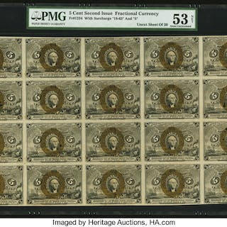 Fr. 1234 5¢ Second Issue Full Sheet of 20 PMG About Uncirculated 53 Net. ...