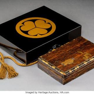 A Japanese Lacquer Suzuribako Writing Box 2-1/2 x 10-3/4 x 8-1/2 inches