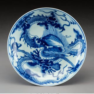 A Chinese Blue and White Porcelain Dish, Qing Dynasty Marks: Six-character