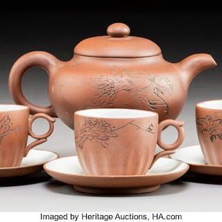 A Four-Piece Tie Hua Xuan Zhi Clay Tea Service, Yixing Zisha, China