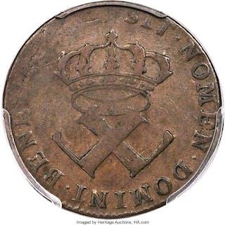 1712-N French Colonies 6 Deniers