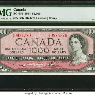 Canada Bank of Canada $1000 1954 BC-44d PMG Choice Uncirculated 63 EPQ. ...