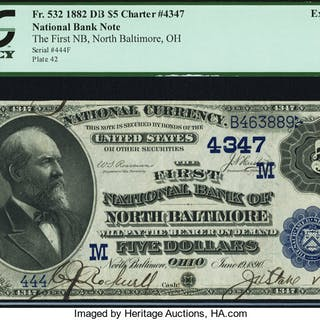 North Baltimore, OH - $5 1882 Date Back Fr. 532 The First NB Ch. #