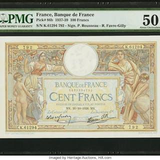France Banque de France 100 Francs 20.10.1938 Pick 86b PMG About Uncirculated